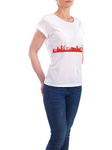 "Design T-Shirt Frauen Earth Positive ""STUTTGART 03 Monochrom Tangerine"" - stylisches Shirt Abstrakt Städte Städte / Stuttgart Reise Architektur von 44spaces Weiß"