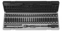 Grey Pneumatic 89653CRD 1/4 Drive 53pc Standard/Deep Length Fractional and Metric Duo-Socket Set - 6 P by Grey Pneumatic -
