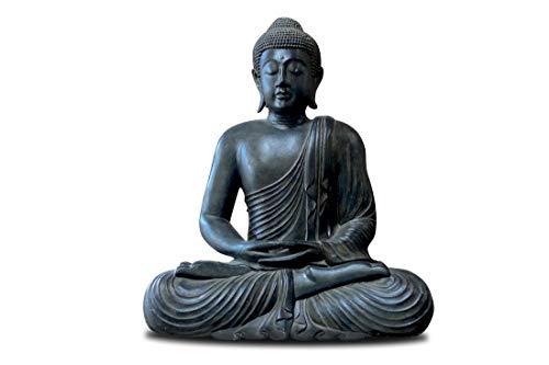 Meditation Buddha-statue (RB Wohndesign Buddha Figur groß im Lotus Schneidersitz aus Lavasteinguss, 60 cm Meditation Statue Skulptur Feng Shui)