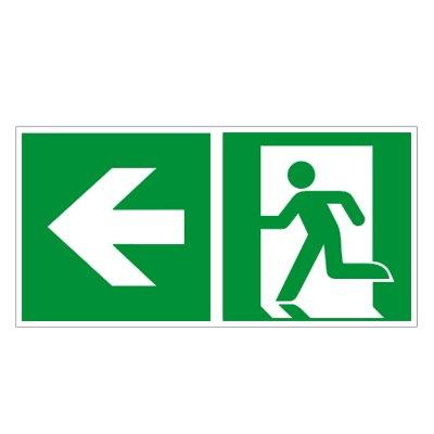 Rettungsweg links - Fluchtweg - Notausgang - Rettungsschild - Rettungszeichen ISO 7010 Folie 300 x 150 mm