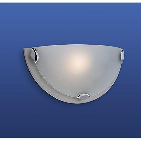 Art Deco Stain Steel wall light uplighter, 1 Bulb, Half Moon (Champagne Wall Light in Satin Steel), FLW200SSI4L | ideas4lighting