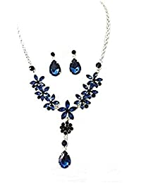 Mujeres azul flores de cristal diamante collar pendientes conjunto de joyería de fiesta de disfraces regalo de cumpleaños