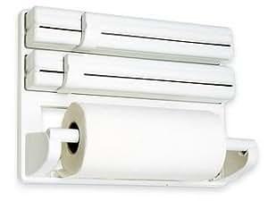 Max casa Porte-rouleaux mural avec curseurs de découpe pour papier aluminium, essuie-tout