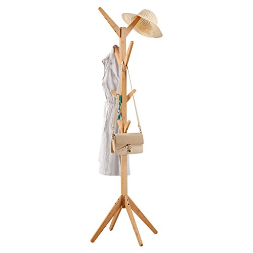 LANGRIA Perchero Bambú de Pie Tipo Árbol con 8 Ganchos en 4 Niveles y Pies Sólidos para Colgar Abrigos Gorros Chaquetas Gabardinas, Color Natural de Bambú