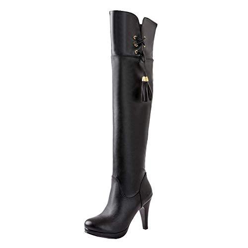 Coolulu Damen Overknees Langschaft Stiefel High Heels Stiletto mit Reißverschluss Boots mit 10cm Absatz Schuhe (Schwarz,40)