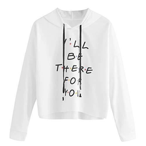 DOFENG Damen T Shirt Bluse Sweatshirt Damen Lange Ärmel Mode Locker Brief Drucken Lässig O Hals Pullover Oberteil Tops (Weiß, Small) -