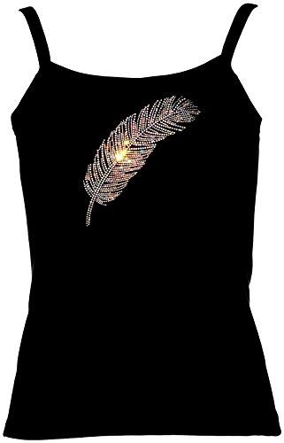 elegantes Damen Shirt grosse Feder Strass regenbogen Western Line Dance Shirt Cowgirl Schwarz
