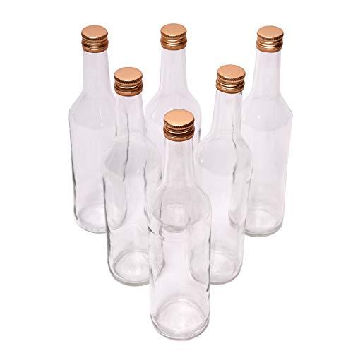 Set di 6 bottiglie di vetro da 500 ml (0,5 l) con tappo a vite, 6 pezzi in un set di alta qualità per succo di frutta, latte, aceto, olio, liquori o liquori.