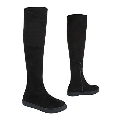 Overknee Stiefel Damenschuhe Klassischer Stiefel Moderne Reißverschluss Ital-Design Stiefel Dunkelschwarz