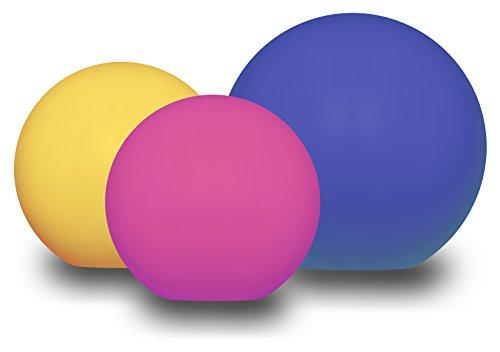 Telefunken Ball Solar Gartenleuchten, im 3er-Set, 2 x 20 cm und 1 x 30 cm Kugel, kabellos, optional: sanfter Farbwechsel, austauschbarer Akku, schwimmfähig