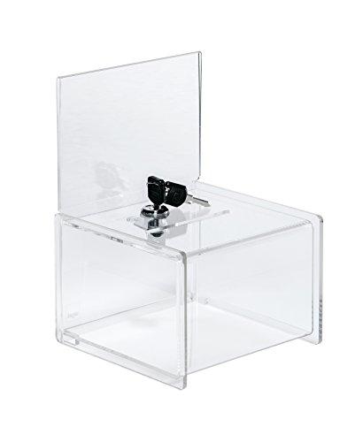 Sigel VA151 Aktionsbox/Losbox mit Schloss, Einstecktafel für A6-Papier, glasklar Acryl, 15 x 15 x 22 cm