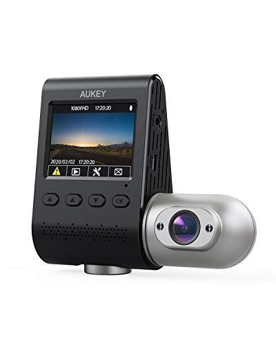 AUKEY Dual Dashcam 3 in 1 FHD 1080p IR Nachtsicht Autokamera 170 Grad Weitwinkel Dash Cam mit Superkondensator, WDR, G-Sensor, Bewegungserkennung, Loop-Aufnahme und Dual-Port Kfz-Ladegerä