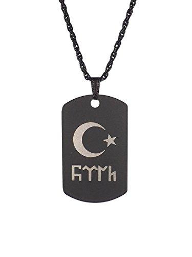 Gök-Türk Halskette Künye für Herren Unisex mit Anhänger Ay Yildiz - Ertugrul Alttürkisch Halbmond mit Stern - schwarz
