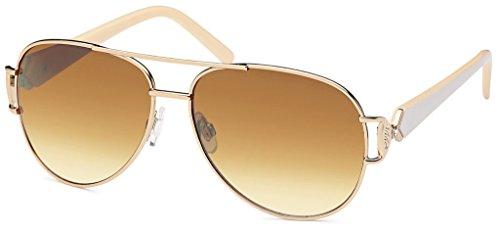 Balinco 17 Modelle Damen Pilotenbrille Sonnenbrille 70er Jahre Sunglasses Fliegerbrille (Weiß-Braun Verlauf)