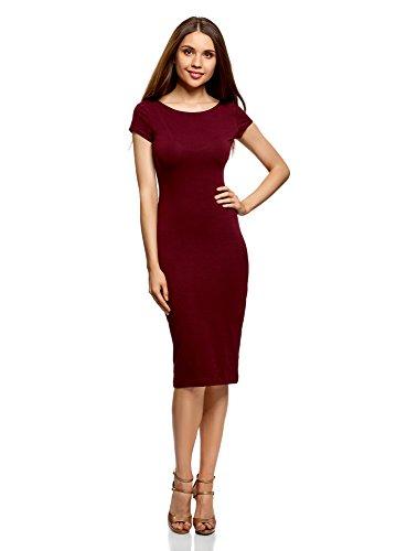oodji Collection Damen Midi-Kleid mit Ausschnitt am Rücken, Rot, DE 38 / EU 40 / M