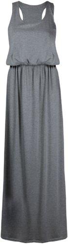 Femmes Uni Sans Manches Femmes Encolure Ronde Extensible Dos Nageur Toge Long Débardeur Jersey Grande Taille Robe Maxi Gris clair