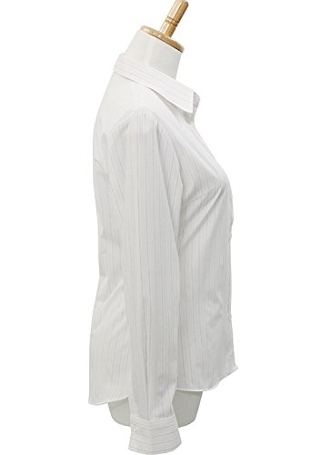 LEONIS Pflegeleichte Damen Langarm-Popeline-Bluse Zweifarbig grau gestreift