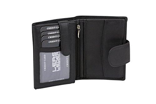 Damenbörse und Herrenbörse mit Außenriegel im Hochformat, Sicherheits Portemonnaie mit RFID Schutz Folie mit Geschenk Box LEAS in Echt-Leder, schwarz (Damen-box Schwarze)