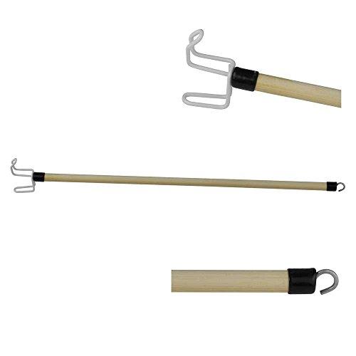 1x Behrend An- und Ausziehhilfe Deluxe, Anziehhilfe, Anziehstock, 2 Haken, Holz, 70 cm