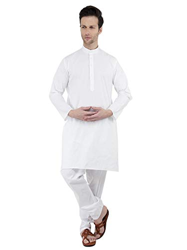 SKAVIJ Herren Tunika Baumwolle Kurta Pajama Set (Weiß, Brustumfang - 107 cm) -