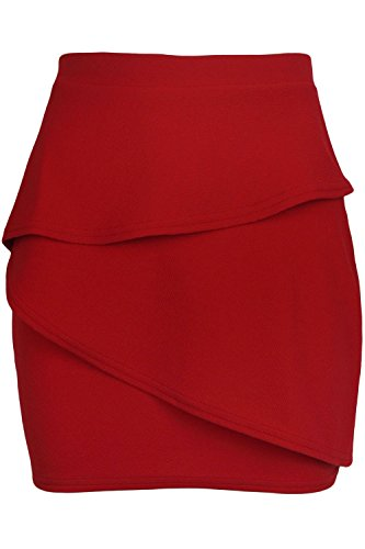 Oops Outlet Womens Bodycon Ruffle Peplum Frill Elasticated Waist Ladies Pencil Mini Skirt