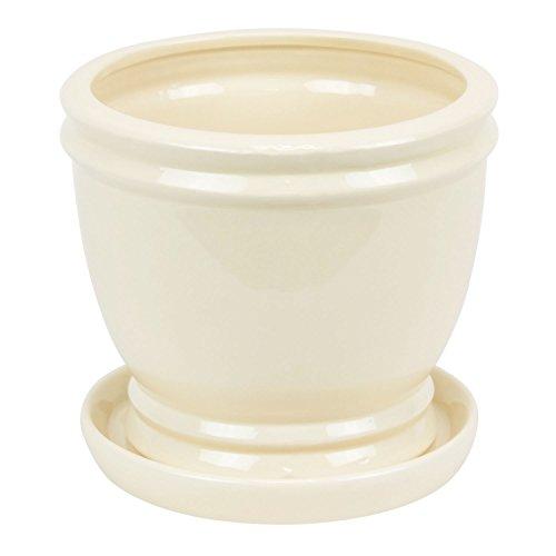ritz-ceramic-trapezium-flower-pot-with-saucer-cream-colour-17-cm-height