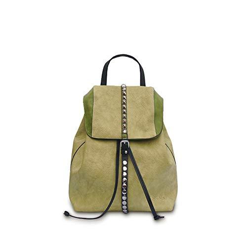 CZDXMRucksack weibliche Mode lässig Rucksack Niet Kordelzug Magnetschnalle mit großer Kapazität PU weiblichen Beutel grün