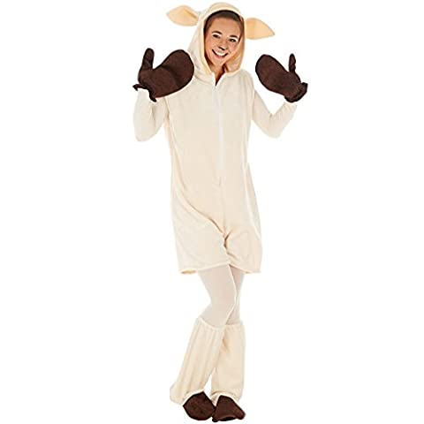 Kostüm Schaf für Sie und Ihn | Kuscheliger Flauschstoff | Super auch als Partner- oder Gruppenverkleidung | inkl. Handschuhe, Beinstulpen und Ganzkörperstrumpfhose (L | Nr. (Halloween Kostüm-ideen Paare)