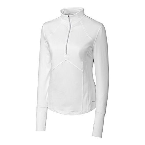 Cutter & Buck Golf Pullover Jacke Half Zip Windbreaker DRYtech Sport Top Annika Kollektion, Weiß, LAK04402 (Sweater Golf Zip Half)