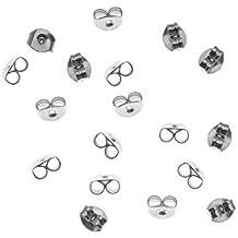 DDOQ Aproximadamente 100 tapones de metal para los oídos de mariposa, 5 x 4 mm
