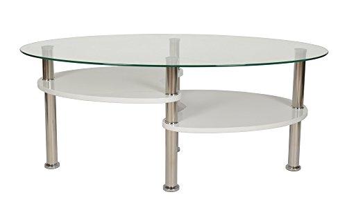 ts-ideen Design Wohnzimmer Glastisch Couchtisch Beistelltisch Kaffeetisch 100 x 60 cm oval 6mm Glas (Oval Couchtisch)