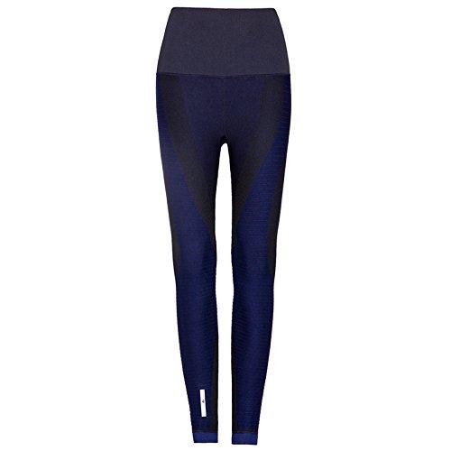 PU&PU Damen-hohe Taillen-Eignungs-Yoga-Sport-Hosen verlängern die Knöchel-Längen-Gamaschen elastisch , black blue , s/m (Knöchel-länge-jeans Blue)