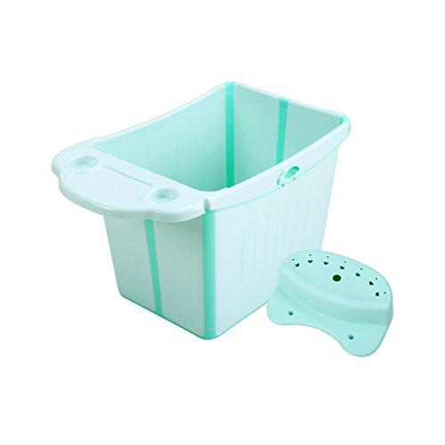 HTZ Bathtub Collapsible Baby Bath Extra-large Children's Bathtub Bathtub Children Sitting Baby Bathtub Bathtub (64X47X49cm) A+ (Color : Blue, Size : 64X47X49cm)