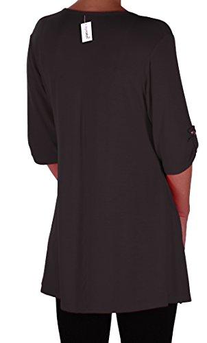 EyeCatch Plus - Tunique basique col en V - Shellie - Femme - Grandes Tailles Noir