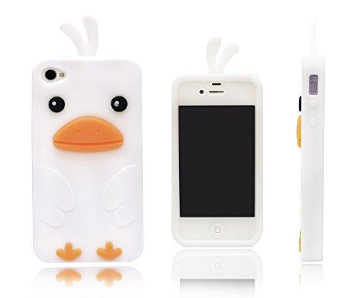 Keyihan iPhone SE Hülle, iPhone 5S Schutzhülle, Niedlich 3D Küken Ente Weichem Silikon Schalen für iPhone 5 und iPhone 5S und iPhone SE (Weiß)