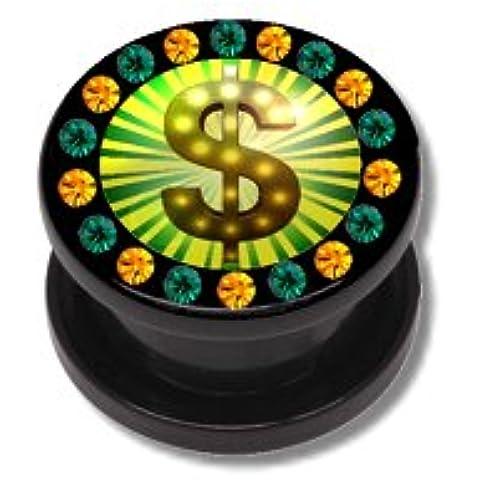 Orecchini Flesh Tunnel Piercing Screw dollaro Hip Hop in acrilico con gemme multicolore steinnen–14mm