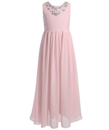 FAIRY COUPLE Mädchens ärmellos Perlstickerei bodenlanges Party Blumenmädchen Ball Kleid K0149 10 Pfirsich-Rosa (Kleider 12 Ball 10 Mädchen Für)