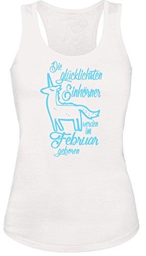 Die Glücklichsten Einhörner werden im Februar geboren! Perfektes Geschenk zum Geburtstag - Damen Tanktop Weiss/Hellblau
