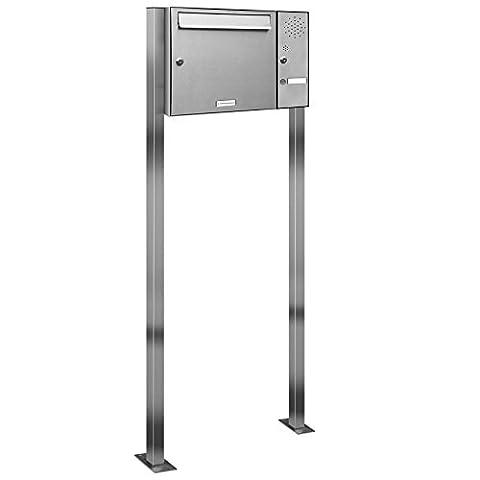 1er Premium V2A Edelstahl Standbriefkasten mit Klingel rostfrei wetterfest als 1 Fach Briefkastenanlage Freistehend DIN A4 in Postkasten Brierfkasten Design (Freistehende Tor)