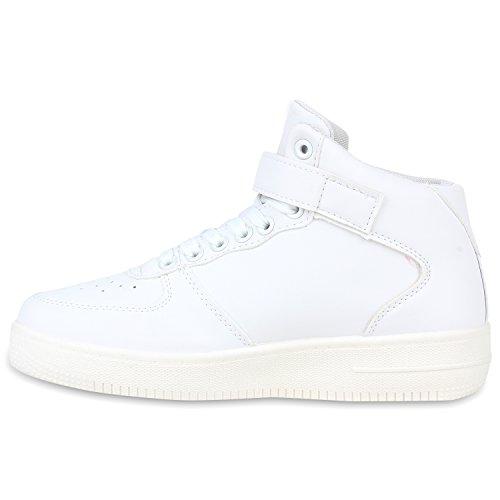 Damen Herren Cultz Basketballschuhe Sportschuhe Sneakers Weiss Glatt Carlet