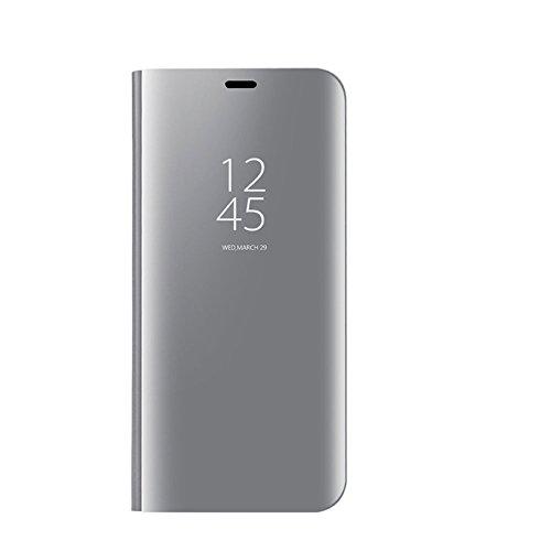 Auntwhale Samsung S9 Case Eingebauter Ständer Clear Smart View Anti-Drop Shell für Samsung S9 Case Fingerabdruckfest, schweißresistent. Bietet Schutz vor Kratzern, Stößen, Schmutz, Fett - Silber -