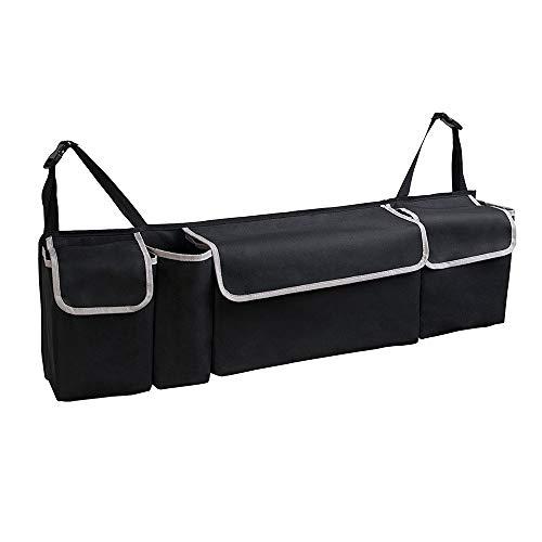 Multi Pocket Rücksitz-Aufbewahrungsbox, 600D Oxford Cloth Trunk Organizer, Autositz-Aufbewahrungstasche, verstellbare Träger - Schwarz
