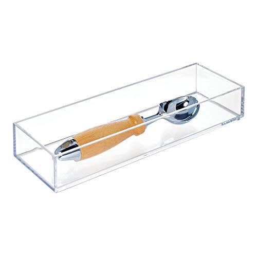 iDesign range couvert, casier rangement plastique de taille moyenne, rangement tiroir pour couverts et divers ustensiles, transparent