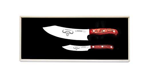 Giesser Messer PremiumCut 2er Set No.II Red Diamond Messerset extra scharf, Kochmesser Chefs No. 1 mit 20 cm Klinge und Gemüsemesser Office No. 1 mit 10 cm Klinge, Profi Küchenmesser edel groß