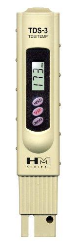 HM Digital TDS-3TDS-Wasserhandmessgerät mit Tragetasche, 0-9990ppm TDS-Messbereich, Auflösung 1ppm, -2% Anzeige Genauigkeit -