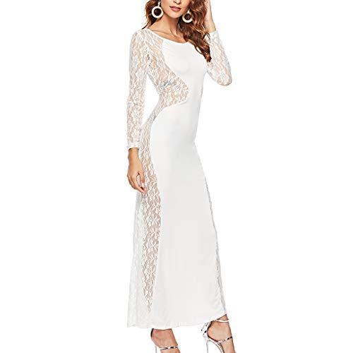 LHWY Damen Kleider Elegant Sexy Frauen Spitze Maxikleid Brautkleid Langarm Rundhals Langes Kleid Slim Fit Party Hochzeit Abendkleid Schwarz Weiß Sommerkleid (L, ()