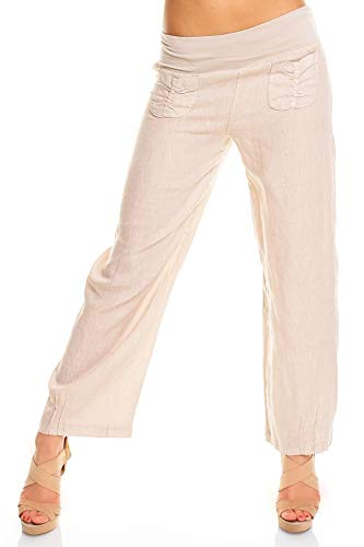 Easy Young Fashion Damen Sommer Leinen Stoff Pluder Hose Leinenhose Lang Weit Stretchbund Einfarbig Beige 40 - L -