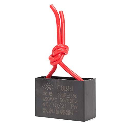 ICQUANZX Condensatore per Ventilatore a soffitto Condensatore 2 Fili per CBB61 Condensatore per Funzionamento a Motore per Ventilatore a Parete 3uF 450V 50/60 Hz Confezione da 3