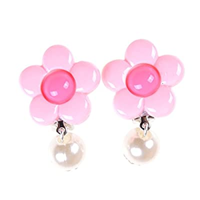 TOYZHIJIA 1 Pair Cute Cartoon Earrings Clip-On No Pierced Design fit for Kids Party Favor Birthday Gift Pretend Play Princess