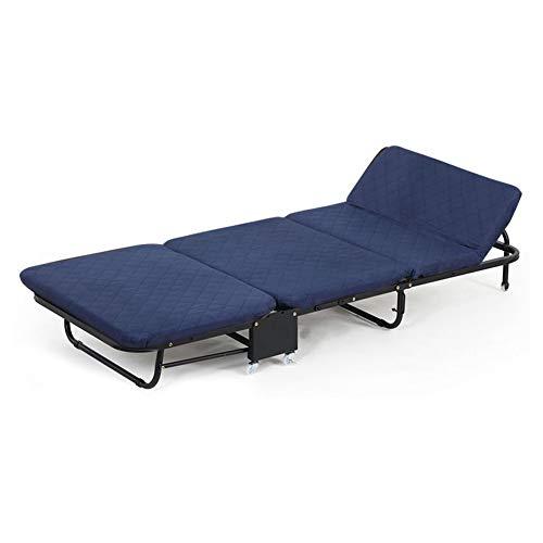 QTT Bett- Und Matratzen-Sets, Faltbare Einzelfaltbare Lounge-Sofa Starkes Stabiles Gästebett Für Camping Und Zuhause (Farbe : Blau, größe : 65X180X26CM)